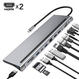 Bakeey 12 in 1 Triple Display USB Type-C Hub Docking Station Adapter con Dual 4K HDMI Display/1080P VGA / 87W USB-C PD3.0 Power Delivery / USB-C Data Transfer Port / RJ45 Network Port / 3.5mm Audio Jack / 3 * USB 3.0 / Lettori di schede di memoria