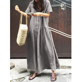 Women Casual Short Sleeve V Neck Button Solid Dress