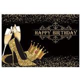 Wszystkiego najlepszego z okazji urodzin Lady Birthday Prom Party Background Shiny Golden Crown szpilki Party Banner Urodziny Photo Studio Rekwizyty