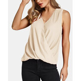 Solid Color V-neck Pleated Irregular Hem Tank Tops