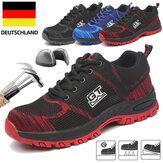 TENGOOメンズ安全靴作業靴スチールつま先滑り止め通気性ランニングシューズメッシュ滑り止め靴スニーカー