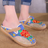 Round Toe Flax Flower Flat Loafers For Women
