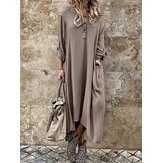 Long Sleeve Button Long Sleeve Solid Casual Maxi Dress For Women