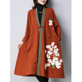 Plus Size Casual Women Floral Printed Knitted Cardigan