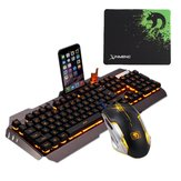 104 teclas USB backlight com fio Mecânico Handfeel Gaming Keyboard Mouse e ouse Pad Combo Set