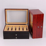 3 Layer 34 Slots Wooden Pen Box Fountain Pen Wood Display Case Holder Storage Collector Box Black Red Business Gifts