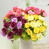 21 têtes artificielles fleur rose bouquet faux mariage de soie cadeau décoration décoration chambre