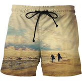 Mens Impression Séchage rapide Mode Casual Board Shorts de plage