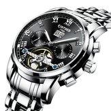 KINYUED J014 ステンレススチール 自動機械式時計 ビジネススタイル スケルトンメンズウォッチ