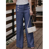 Women Casual Cotton Linen Solid Color High Waist Button Pant