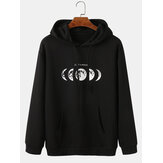 Homens Moon Graphic Impresso Relaxed Fit Strings Hoodies