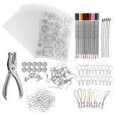 182Pcs Heat Shrink Plastic Sheets Kit Shrinky Art Paper Hole Punch Sleutelhangers DIY