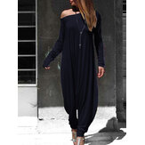 Women Off Shoulder Harem Pants Casual Loose Jumpsuit