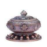 Incense Coil Burner Tibet Lotus Copper Alloy Holder Gift Craft Yoga Room Home Decor Buddhist Censer