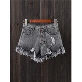 Mulheres botão para cima bolso solto oco rasgado shorts jeans