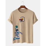 Camisetas de manga corta para hombre Astronaut Shooting Cartoon Print Cuello