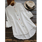 Women Long Sleeve Casual Buttons Cotton Asymmetric Blouse