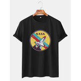 Herren NASA Cartoon Round Neck Atmungsaktive Casual T-Shirts