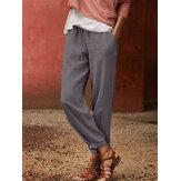 Harem suelto con cordón de cintura elástica de color sólido 100% algodón para mujer Pantalones