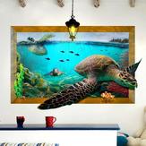 Tortue de mer 3D Salon Chambre Animaux Plancher de la maison Fond Wall Decor Creative Stickers