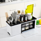 Wall Mounted / Desktop Tabletop Packaging Rack Cutter Holder Hole-free Hanging Box for Kitchen Storage