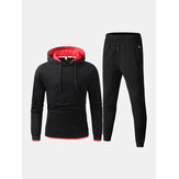 Mens Sport Cotton Contrast Color Hoodie Drawstring Pocket Jogger Pants Fitness Two-Piece Set