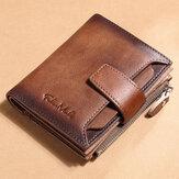 Mænd ægte læder RFID Anti-tyveri Multi-slot Retro Stor kapacitet Sammenfoldelig kortholder tegnebog