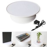 Round White Velvet Top Electric Motorized 360° Rotating Turntable Jewelry Ornament Display Stand