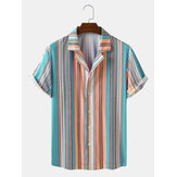 Mens Striped Revere Collar Short Sleeve Shirts