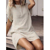 Women Short Sleeve Cotton Long Shirt Loose Solid Mini Dress
