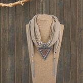 Böhmisches Metall Geometrisches Dreieck Harz Anhänger Schal Halskette Metallkette Quaste Mehrschichtige Halskette