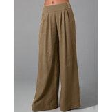 Kadınlar Düz Renk Yan Düğme Fermuar Cep Gevşek Rahat Geniş Bacak Pantolon