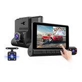 Pantalla táctil E-ACE de 4 pulgadas Coche DVR 3 cámaras Lente Grabadora de video FHD 1080P Cámara de visión trasera compatible con Auto Dash Cam