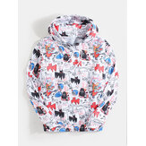 Mens Allover Graffiti Hand Painted Letter Print Pouch Pocket Drawstring Hoodies