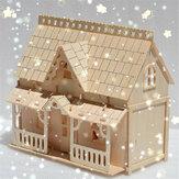 DIY blocos de madeira montagem Boneca casa modelo brinquedos para crianças presente