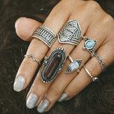 8 Stück böhmischen Türkis Gem Knuckle Ring für Damen eingestellt
