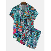 Mens Funny Graffiti Character Cartoon Print Kurzarm Causla Shorts Shirts