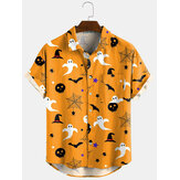 3-farve Halloween tegneserie-print Turn Down Collar Short Shirts