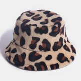 Women Rabbit Hair Leopard Pattern Casual Warm All-match Bucket Hat
