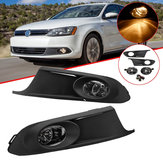 Pair Car Front Bumper Fog Lights Lamp with Grilles Harness Amber for VW Jetta MK6 2011-2014