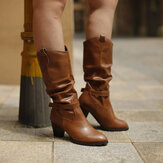 Women Large Size Buckle Belt Decor Mid Calf Chunky Heel Riding Boots