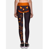Women Halloween Side Pumpkin Print High Waist Slim Sport Pants