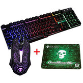 Colorful Backlight USB Keyboard Gaming Kabel 2400 DPI LED Combo Mouse Gaming dengan Mouse Pad