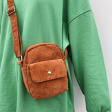 Women Corduroy Retro Solid Color Small 6 Inch Phone Bag Crossbody Bag