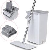 Plat Squeeze Mop Bucket Lavage gratuit Auto-nettoyage Tampons en microfibre Cleaner Outils de nettoyage à domicile Ensemble
