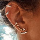 4Pcs Geometric Gold Earring Set Fish Bone Rhinestones