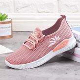Kadınlar Hafif Rahat Nefes Örgü Düz Sneakers Üzerinde Kayma