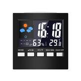 Cor Multifuncional LCD Tela Temperatura Higrômetro Tempo Calendário Semana Tempo Alarme Relógio