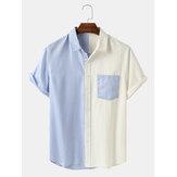 Banggood Design Men Cotton Spliced Stripe Patch Pocket Short Sleeve Casual Shirts