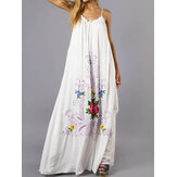Bohemian Floral Sleeveless Swing Hem A Line Long Dress